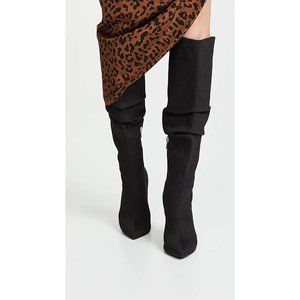 Jaggar Black Knee High Boot Scrunch Fabric Heel